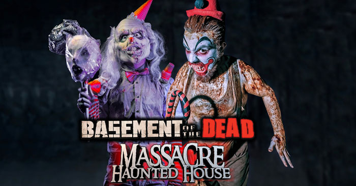 See 2 of America's Best Haunted Houses in 1 night!  Basement of the Dead & Massacre Haunted House have teamed up in 2019 to bring you a terrifying offer!