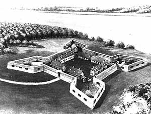 An illustration of Fort de Chartres as constructed by Richard McCarty, using slave labor.