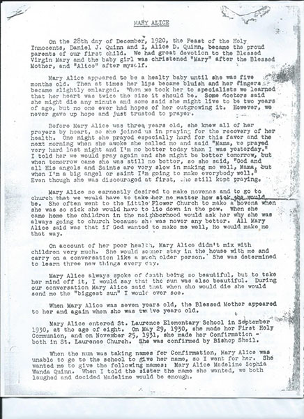 Mary Alice Quinn's mother's letter. Page 1 of 4.
