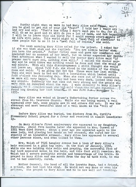 Mary Alice Quinn's mother's letter. Page 3 of 4.